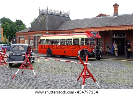 KIDDERMINSTER, ENGLAND - JULY 10: Classic road transport at Kidderminster Station on the Severn Valley Railway, a former Great Western Railway branch line. July10, 2016 in Kidderminster, England. - stock photo