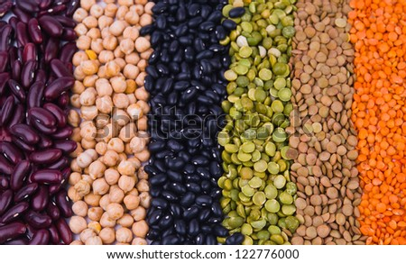 kidney bean, lentil, peas and chick-pea as a background - stock photo