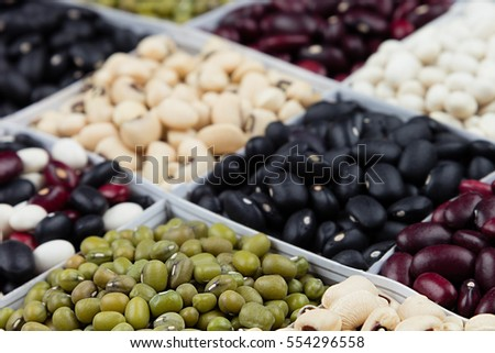 Kidney beans background, assortment haricot - red, black, white, mung  in square cells macro. Healthy protein food.