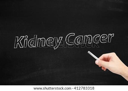Kidney cancer written on a blackboard - stock photo