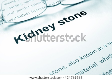 Kidney stone sign on a paper.