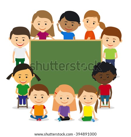 Kids around chalkboard - stock photo