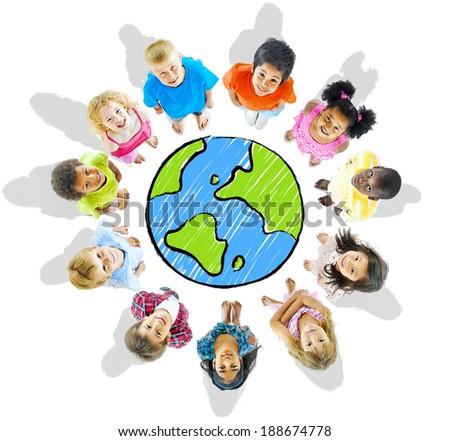 Kids Around The Globe - stock photo