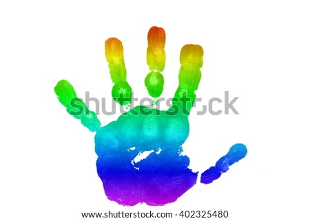 kids art and craft colorful hand prints in rainbow Isolated on white background