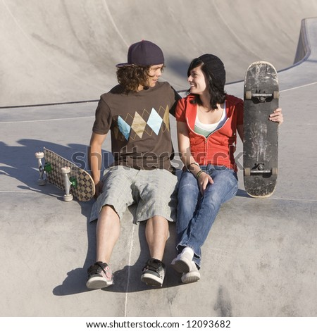Kids at skatepark - stock photo
