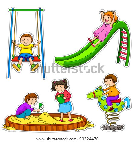 kids at the playground (vector available in my gallery) - stock photo