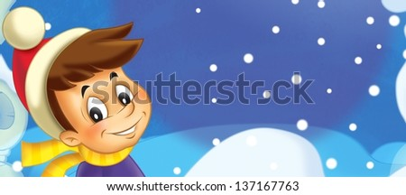 Kids at the winter - illustration for the children