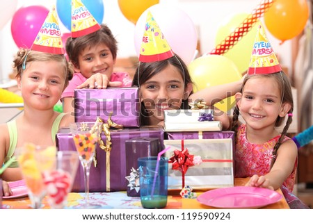 Kids birthday party - stock photo