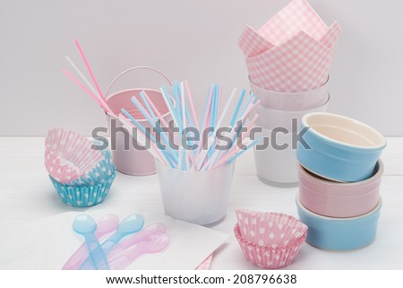 Kids Birthday Party Dinnerware. Paper And Plastic. - stock photo