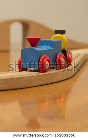 kids blue and red toy train - stock photo