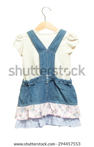 Kids blue bid Jeans dress with white shirt back view in clothes hanger, isolated on white background.