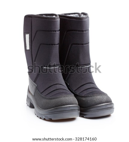 Kids boots for winter on white - stock photo