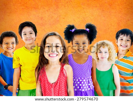 Kids Children Diversity Happiness Group Cheerful Concept - stock photo