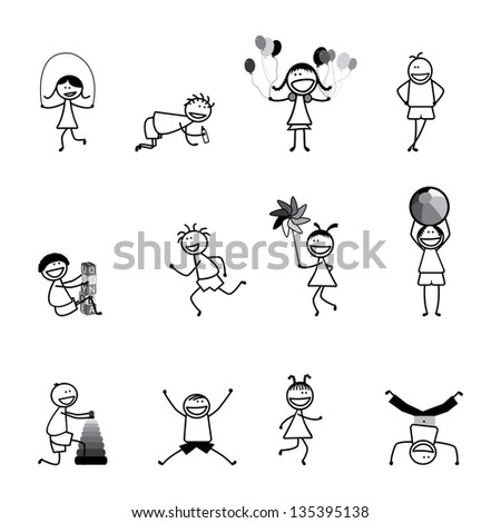 Kids(children) playing & having fun at school in black and white - Vector Illustration. The girls & boys are skipping,playing ball & balloons, running, jumping, alphabet blocks,& other fun activities - stock photo