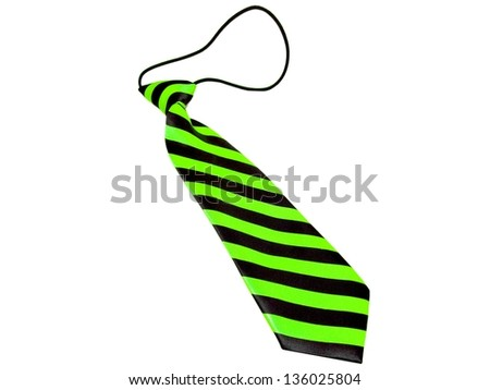 Kids / children's / boys green and black striped necktie isolated on a white background - stock photo