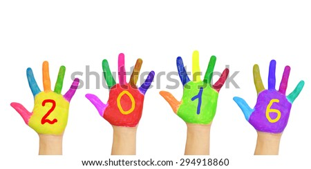 Kids colorful hands forming number 2016. Isolated on white background. The symbol of the new year