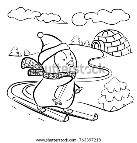 Kids Coloring Page Penguin On Skis Illustration