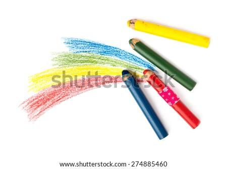 Kids Drawing and Pencils - stock photo