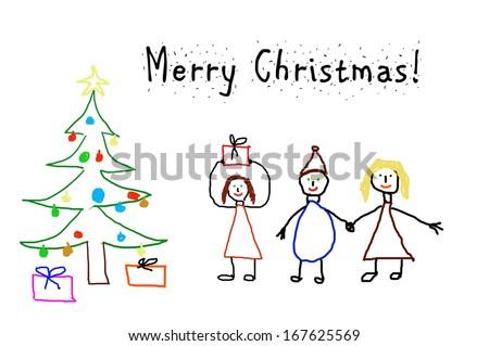kids drawing christmas card stock illustration 167625569 shutterstock