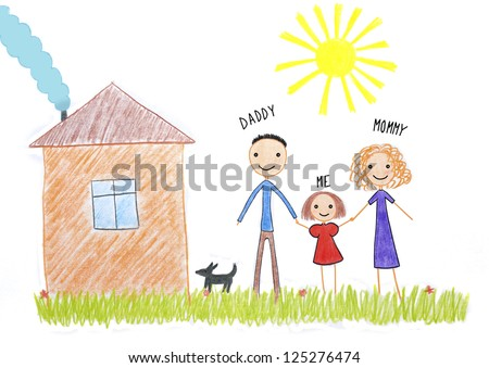 kids drawing happy family near their house picture on the wooden table - stock photo