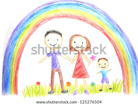 kids drawing happy family picture on the wooden table - Kids Free Drawing