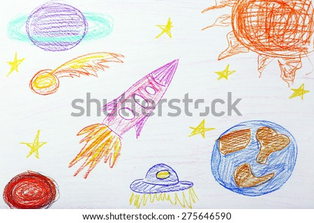 Kids drawing on white sheet of paper, closeup - stock photo