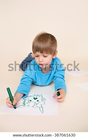Kids drawing with markers, art education concept, Preschoolers, kindergarteners. - stock photo