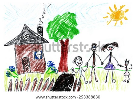 Kids drawings. Happy family - stock photo