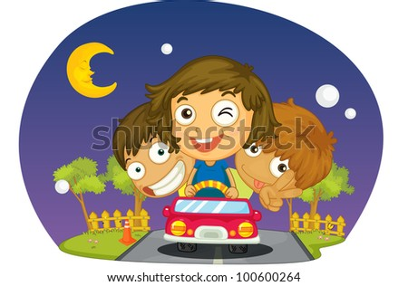 kids driving at night in car - EPS VECTOR format also available in my portfolio.