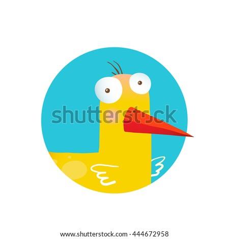 Kids Duck Funny Icon. Bird animal cartoon fun circle icon illustration. Raster variant. - stock photo