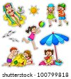 kids enjoying summer (vector available in my portfolio) - stock photo