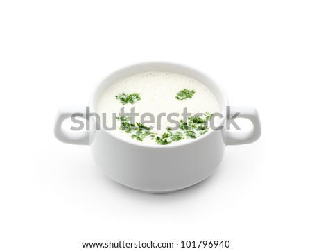 Kids Food - Cream Soup with Greens - stock photo