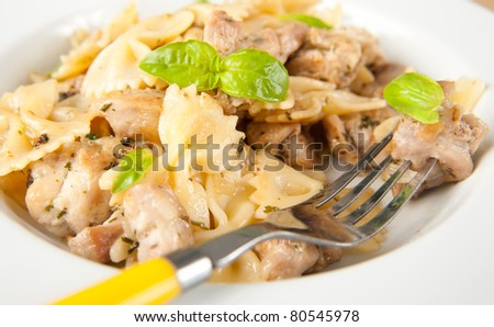 Kids Friendly Lunch of Pasta and Chicken - stock photo