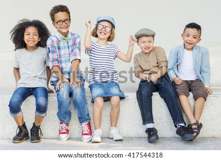 Kids Fun Children Playful Happiness Retro Togetherness Concept - stock photo