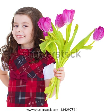 Kids,girl,kid,child- Charming schoolgirl pereds bouquet of yellow flowers. Isolated on white background.