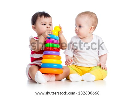 kids girls playing toy together - stock photo