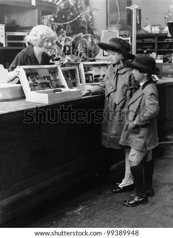 Kids going Christmas shopping - stock photo