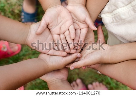 Kids hands symbol of friendship