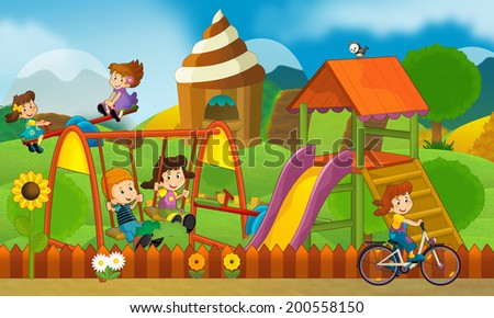 Kids having fun on the playground - illustration for the children - stock photo