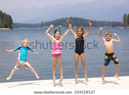 Kids having fun on their summer vacation