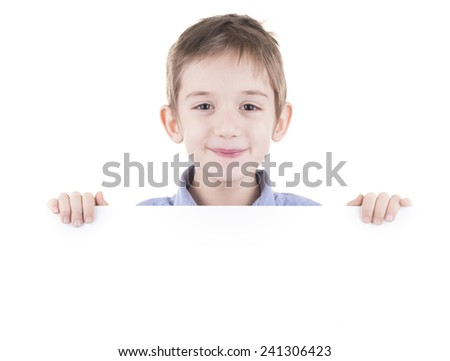 kids head above white empty background. studio shot on white background