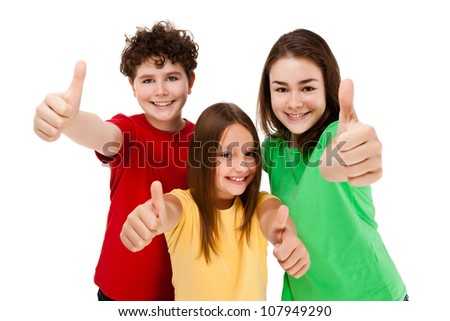 Kids holding books isolated on white background - stock photo