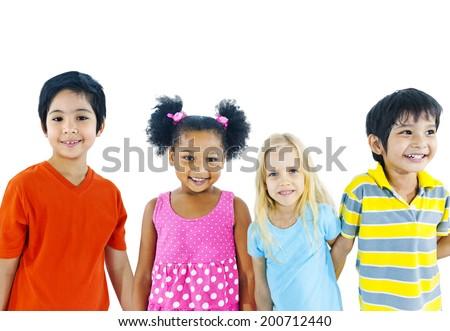 Kids holding hand - stock photo