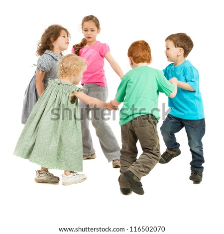Kids holding hands and playing circle game. On white.