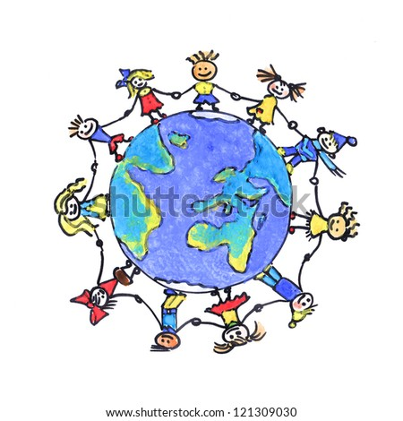 kids holding hands around a globe in a hand-drawn watercolor style - stock photo