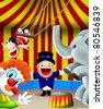 Kids in circus, trapeze artist, clown, elephant. (MangoKids series) - stock vector