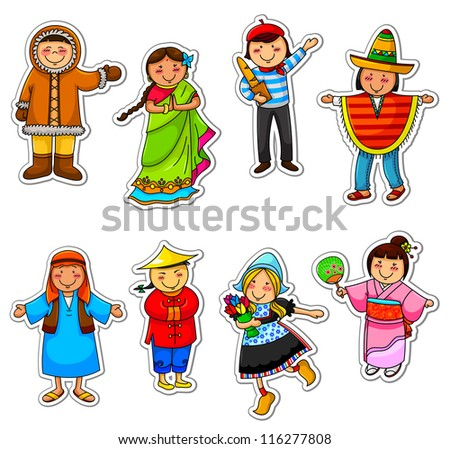 kids in different traditional costumes (vector available in my gallery) - stock photo