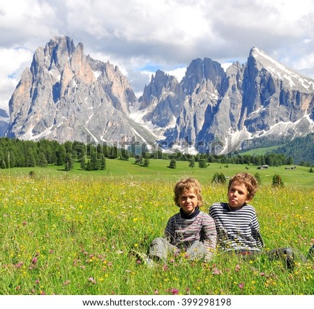 Kids in mountains