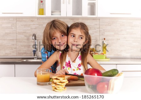 kids in the kitchen - stock photo