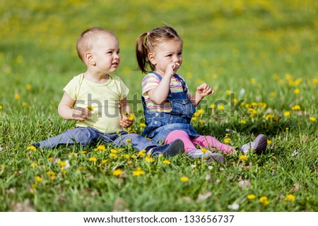 Kids in the spring field